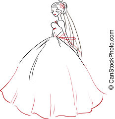 Symbolic beautiful bride in wedding dress - The vector image...