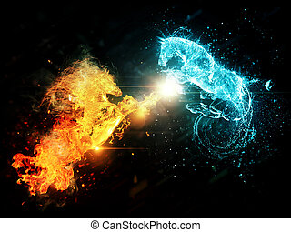 Water and fire horses - Fiery and blue water horses on...