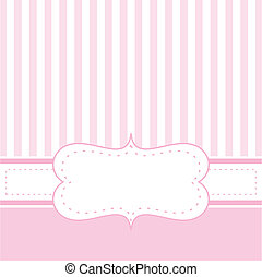 Pink vector baby card or invitation - Pink vector card...