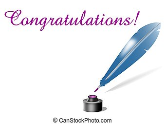 Congratulations message written with feather quill and ink