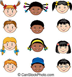 children faces - Multi ethnic children faces: Caucasian,...