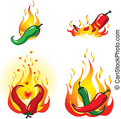 Chili peppers on fire - Hot and spicy chili peppers