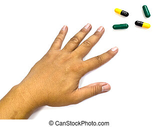 Drug abuse concept - passive hand on white background