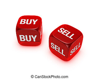 pair of translucent red dice with buy, sell sign