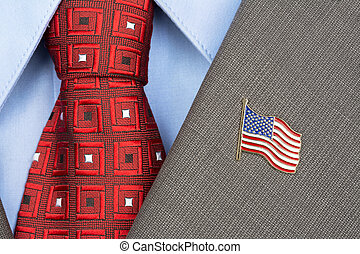 American Flag lapel Pin - An American flag lapel pin on the...