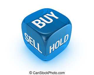 translucent blue dice with buy, sell, hold sign - one...