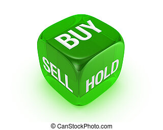 translucent green dice with buy, sell, hold sign - one...