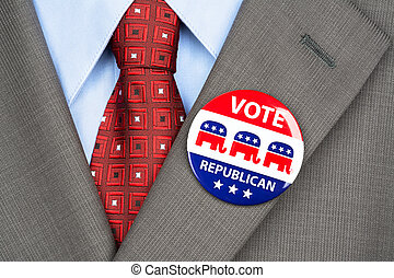 Republican vote badge - Close up of a republican voting...
