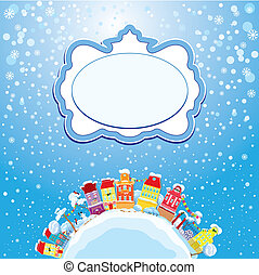 Christmas and New Year holidays card with small fairy town...