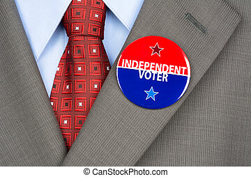 Independent voter pin - Close up of an independent voting...