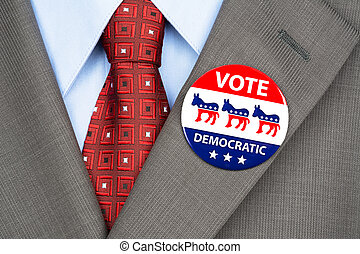 Democrat vote badge - Close up of a democrat voting badge on...