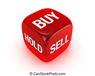 translucent red dice with buy, sell, hold sign - one...
