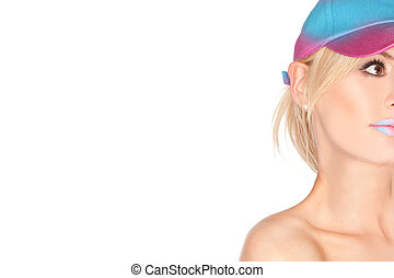 Partial portrait of a beautiful blond woman wearing a peaked...