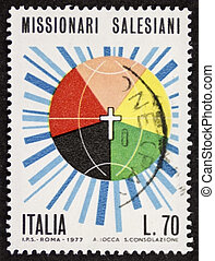 Salesians postage stamp bis - ITALY ? CIRCA 1977: a stamp...