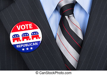 Republican vote pin - A republican voter proudly wears his...