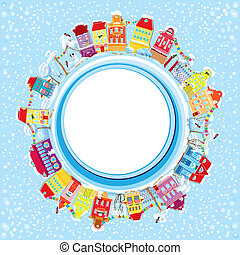 Abstract round banner with small fairy town on light blue sky background with decorative colorful houses in winter time. Christmas and New Year holidays card.
