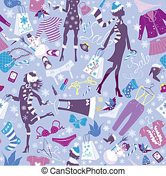 Seamless pattern in pink colors - Silhouettes of fashionable girls with colorful glamor clothes and accessories in Christmas Sale time