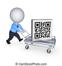 Symbol of QR code on pushcartIsolated on white3d rendered