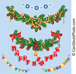 Set of Christmas and New Year garlands with horse toy, bell, bows, ribbons, sweets, candies.