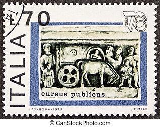 Cursus Publicus postage stamp - ITALY ? CIRCA 1976: a stamp...