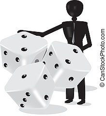 dices in 3d grey and white with black dots