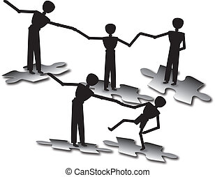 people success - people teamwork to success in balance