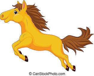 cavalo, caricatura, Pular