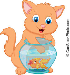 Cartoon Kitten Fishing for Gold Fi - Vector illustration of...