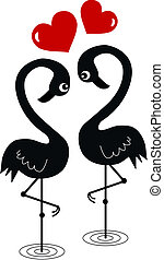 two flamingos in love valentines day or other celebration
