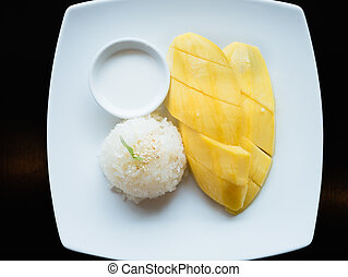 Mango sticky rice, Thai dessert