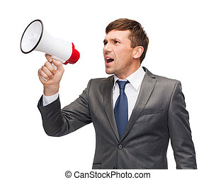 businessman with bullhorn or megaphone - business,...