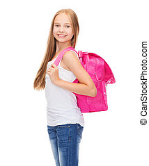 happy and smiling teenage girl - education and school...