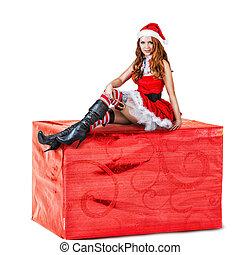 Sexy, mujer, Llevando, rojo, santa, Claus, ropa