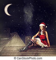 navidad, hada, mujer, rojo, Vestido, santa, sombrero