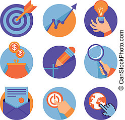 Vector icons in flat retro style - business and development...