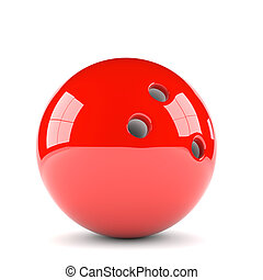 red bowling ball - 3D illustration of red bowling ball...