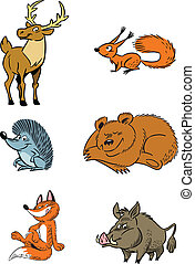 forest animals - The illustration shows some species of wild...
