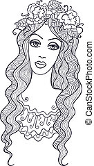 Girl and flower chaplet - Artistic vector drawing of a...