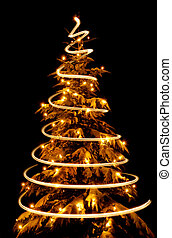 Christmas tree with light spiral drawn around it