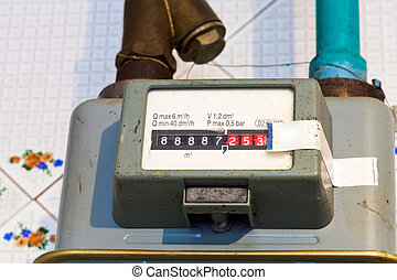 individual gas meter of usual diaphragm style on home flat