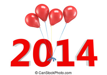 3d shiny red balloons with 2014