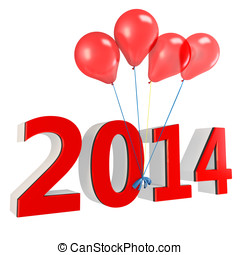 3d shiny red balloons with 2014 on white background