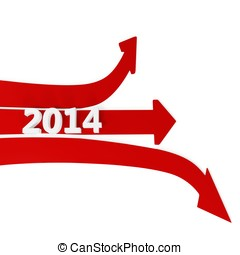3D path arrows with year 2014 isolated on a white background...