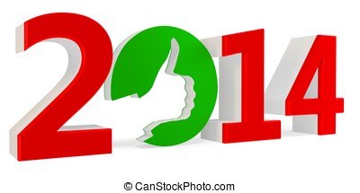 3D green ok sign with year 2014
