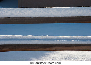 Snowy Fence - Snow piled high on a fence in Grand Junction,...