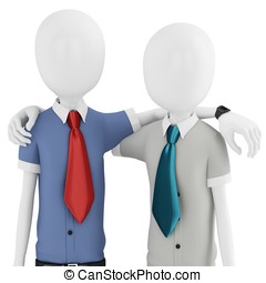 3d man business partners embracing each other on white...