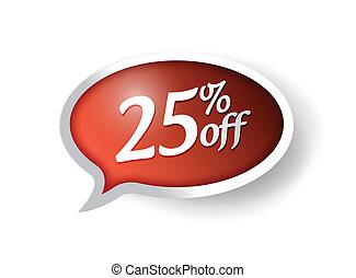 25 percent off message bubble illustration design over white