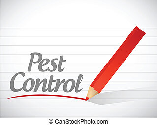 pest control write message illustration design over white