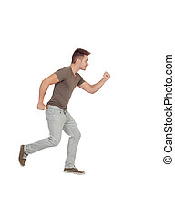 Casual young man running