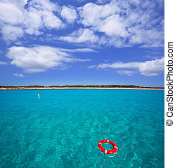 Formentera Illetes Illetas with round buoy view from sea at...